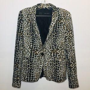 Zara Basic leopard print blazer sz s